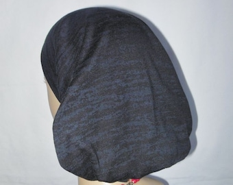 Hair Snood Turban:Crackled Black Volumizer Chemo Headwear, Cancer Patient Hat