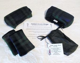 Padded Fleece Crutch Pads Navy Green Plaid, Crutch Phone Tote Bag, Toe Warmer Cast Sock