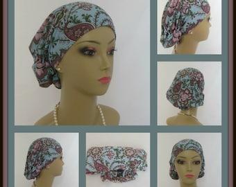 Hair Snood Multi-Color Jacobean Print Design Jersey Volumizer Chemo Headwear, Tichel Hat