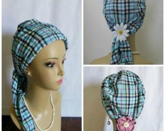 Gauze Scarf Turban Navy Yellow Pink Plaid  Light Blue Volumizer Chemo Cancer Headwear Cap