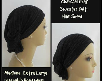 Hair Snood Turban Charcoal Gray Sweater Knit Volumizer Chemo Headwear, Cancer Patient Hat