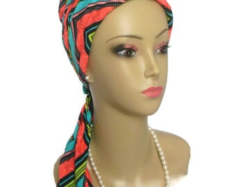 Jersey Scarf Turban Tropical Chevron,Chemo Headwear, Cancer Patient Hat, Tichel Hair Cover