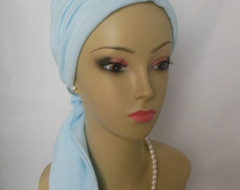 Powder Blue Gauze Scarf Turban Volumizer Chemo Headwear, Cancer Patient Hat, Alopecia Head Cover, Tichel Hair Wrap, Beach Scarf Cancer gift