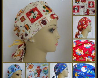 Fun Christmas  Ponytail Scrub Caps, Chemo Headwear, Surgical RN Scrub, Pediatric Scrub Cap