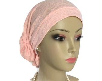 Hair Snood Turban, Peach Summer Sweater Knit Chemo Headwear, Cancer Patient Hat, Tichel