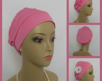 """3 Seam Peony Pink Satin Jersey Turban, Chemo Headwear, Cancer Patient Hair Cover, Tichel Mitpachat Cap, Alopecia Adult 20-23"""" Child 18-20"""""""