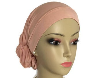 Extra Large Hair Snood Blush Jersey Turban Volumizer Chemo Headwear' Cancer Patient Hat, Hair Covering,