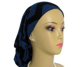 Reg-XL Hair Snood Blue & Black Chevron Jersey Turban, Cancer Patient Hat. Tichel