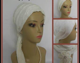White Jersey Scarf Turban, Chemo Headwear, Cancer Patient Hat, Tichel Mitpachat, Alopecia