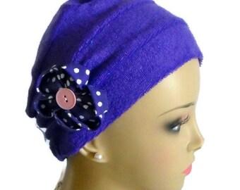 Deep Purple 3-seam Stretch Terry Knit Turban Chemo Headwear, Cancer Patient Hair Cover, Tichel Mitpachat Cap, Alopecia Head Wear, Beach Cap
