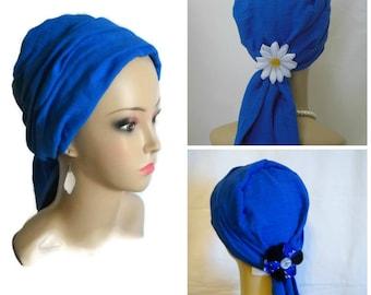 Royal Blue Scarf Turban Gauze Volumizer Chemo Headwear Cancer Patient Hat, Tichel