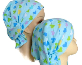 Child Flannel Hair Snood Volumizer Chemo Headwear, Cancer Patient Hat, Girl Hair Covering