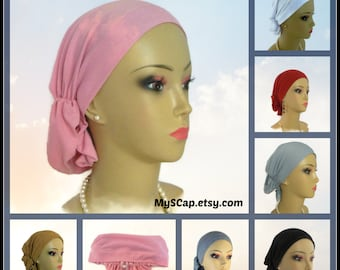 Solid Hair Snood Headwear,  Chemo Headwear, Cancer Patient Hat, Alopecia Head Scarf,Tichel