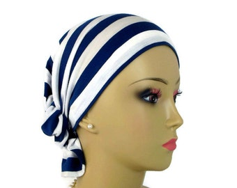 Hair Snood: Navy & White Striped, Volumizer Chemo Volumizer  Headwear, Tichel Mitpachat Head Wear, Beach Head Wrap, Hair Covering Med-Large
