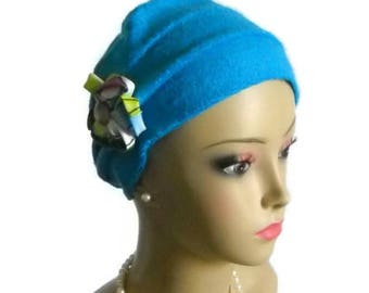 3-seam Turban Deep Turquoise French Terry Knit, Beach Chemo Headwear, Cancer Patient Hair Covering, Tichel Mitpachat Cap, Cool Alopecia Cap