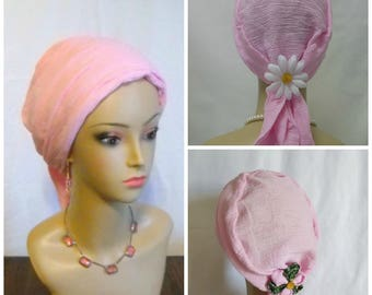 Scarf Turban Paris Pink Gauze Volumizer Chemo Headwear, Cancer Patient Hat, Hair Covering