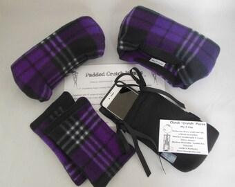 "Crutch Pads: Royal Purple Plaid Fleece 2"" Bounce Back Washable, Cast Sock Toe Bootie"