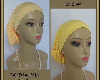 Hair Snood Yellow Satin Jersey  Chemo Headwear, Cancer Patient Hat ,Alopecia Hair Cover