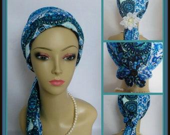 Jersey Scarf Turban Blue Tile Chemo Headwear,Cancer Patient hat,Volumizer Tichel Mitpachat