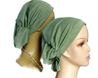 Hair Snood Sea Green Turban, Chemo Headwear, Cancer Patient Hat, Hair Covering, Tichel