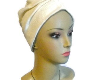 Front Knotted Turban Ribbed Jersey Ivory | Chemo Sleep Cap Headwear | Cancer Patient Hat | Tichel Mitpachat Head Wrap | Yoga Workout Turban