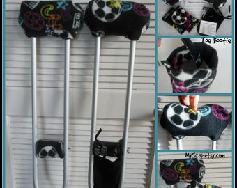 Fleece Crutch Pads: Soccer Crutch Cover, Crutch Phone Bag, Toe Warmer Bootie, Cast Sock