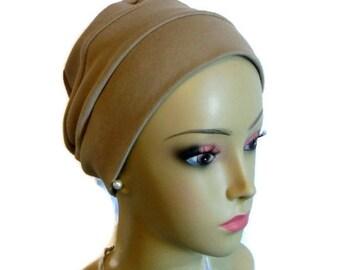 3 Seam Cotton Beige Jersey Turban Beige  Interlocking Knit Chemo Headwear