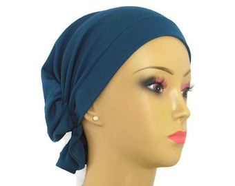 Hair Snood Turquoise Jersey Turban, Volumizer Chemo Headwear, Cancer Patient Hat, Med-Lg