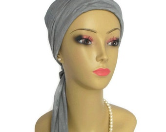 Pewter Gray Jersey Scarf Turban Chemo Headwear,  Cancer Patient Hat, Alopecia Tichel