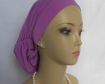 Satin Hair Snood Sweet Azalea Jersey Turban Teen Adult Volumizer Chemo Headwear  Large