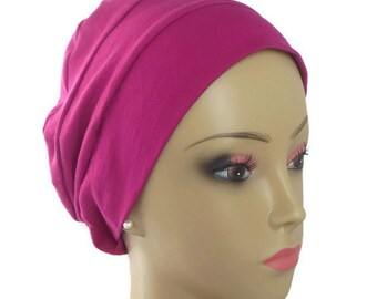 Organic Fuchsia  Cotton Turban 3Seam Hair Cover, Alopecia Cap,Tichel Mitpachat  Volumizer