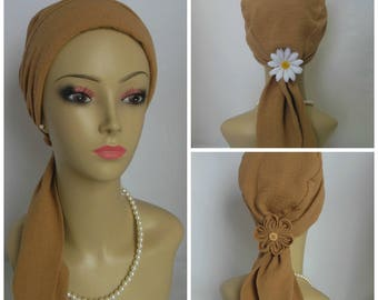 Scarf Turban Khaki Gauze Volumizer Chemo Headwear, Cancer Patient Hat, Beach Hair Cover