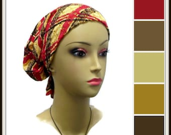 Hair Snood Cranberry Black Gold Open Weave Turban | Volumizer Chemo Headwear | Cancer Patient Hat | Tichel & Mitpachat Hair Covering Wrap