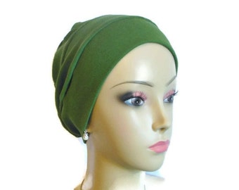Organic Green Cotton Turban 3-Seam Chemo Headwear, Alopecia, Tichel  Mitpachat  Volumizer