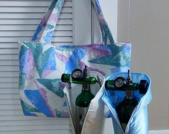 "Oxygen Tank Tote Bag B M9 & C | Mauve Teal Blue Tan Drapery Multipurpose Travel Bag | 16""x11""x4"" Beach Picnic Bag | CPAP Oxygen Caddy"