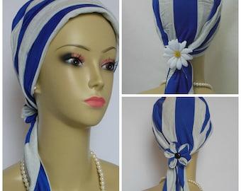 Jersey Scarf Turban Cabalt Blue Gray Stripes Chemo Headwear, Cancer Patient Hat, Tichel