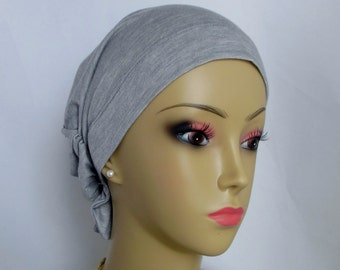 Hair Snood Gray Jersey Turban, Volumizer Chemo Cancer Headwear