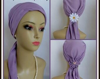 Scarf Turban SatinJersey Lavender, Volumizer Chemo Headwear, Cancer Patient Hat, Tichel
