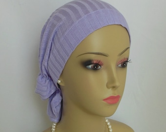 Hair Snood Turban, Lavender Ribbed Cotton Knit Volumizer Chemo Headwear,  Ex large