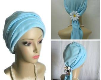 "Powder Blue Jersey Scarf Turban 17""Ties, Volumizer Chemo Headwear,  Cancer Patient Hat, Alopecia Hair Covering, Tichel & Mitpachat Head Wrap"