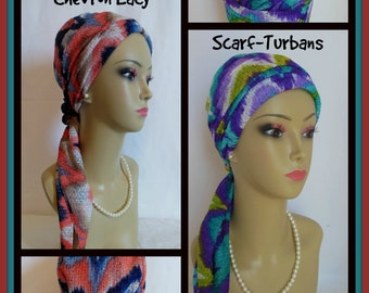Chevron Lace Turban Scarf Jersey Cancer Patient Hat,Chemo Headwear, Tichel Hair Cover