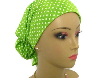 Hair Snood Green Dotted Swiss Knit Turban, Volumizer Chemo Headwear