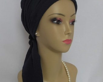Navy Gauze Scarf Turban Volumizer Chemo Headwear, Breathable Cancer Patient Hat, Tichel,