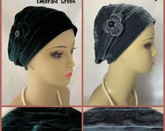 Emerald Green Velvet 3Seam  Turban, Gray Velour Volumizer Chemo Headwear, Cancer Patient Hat Hair Cover Gift, Tichel Mitpachat Wrap