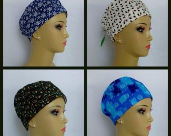 "Christmas Sweatband Scrub Caps, Pediatrics RN Surgical Hat, Chemo Headwear, Nurse Graduation Gift, Alopecia Cap, OR Cap, Cancer Cap 22""-25"""