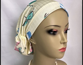 Abstract Roses on Silver Cream Satin Hair Snood Volumizer Chemo Headwear, Cancer Patient Hat, Alopecia Hair Covering, Tichel Mitpachat