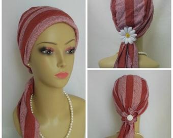 "Burnt Heather Orange Stripe Jersey Scarf Turban,19""Ties Volumizer Chemo Headwear, Cancer Patient Hat, Alopecia Hair Cover, Tichel Head Wrap"