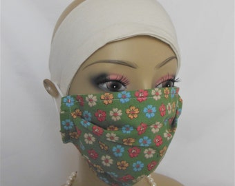 Removable Filtered Flower Face Mask, Dusk Mask,  Machine Washable  Face Cover Mask,  Yard Mask, Eco-Friendly Mask, Health Care PPE, Catering