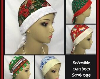 Reversible Christmas Surgical Scrub Cap, Surgical RN Scrub Cap, Cancer Patient Hat, Operating Room Cap, Nurse Gift, Veterinarian Cap