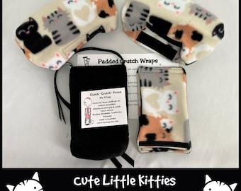 Cutie Kitties Crutch Pad Covers, Kids Crutch Pads, Crutch Phone Tote Bag,Cast Sock, Crutch Tote Bag, Crutch Accessories,Cast Sock Toe Warmer